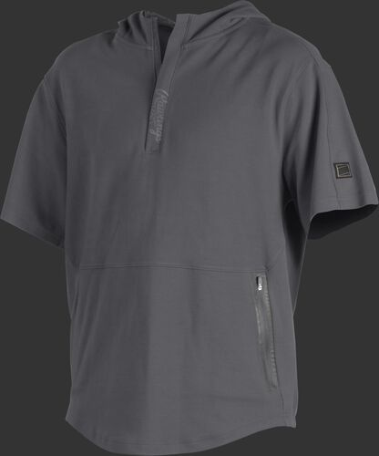 A gray Gold Collection short sleeve hoodie with a 1/4 zip and gray welded zipper pockets - SKU: GCJJ-GR