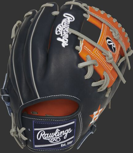 Navy back of a Houston Astros Heart of the Hide glove with a navy Rawlings patch - SKU: RSGPRO204-2HOU