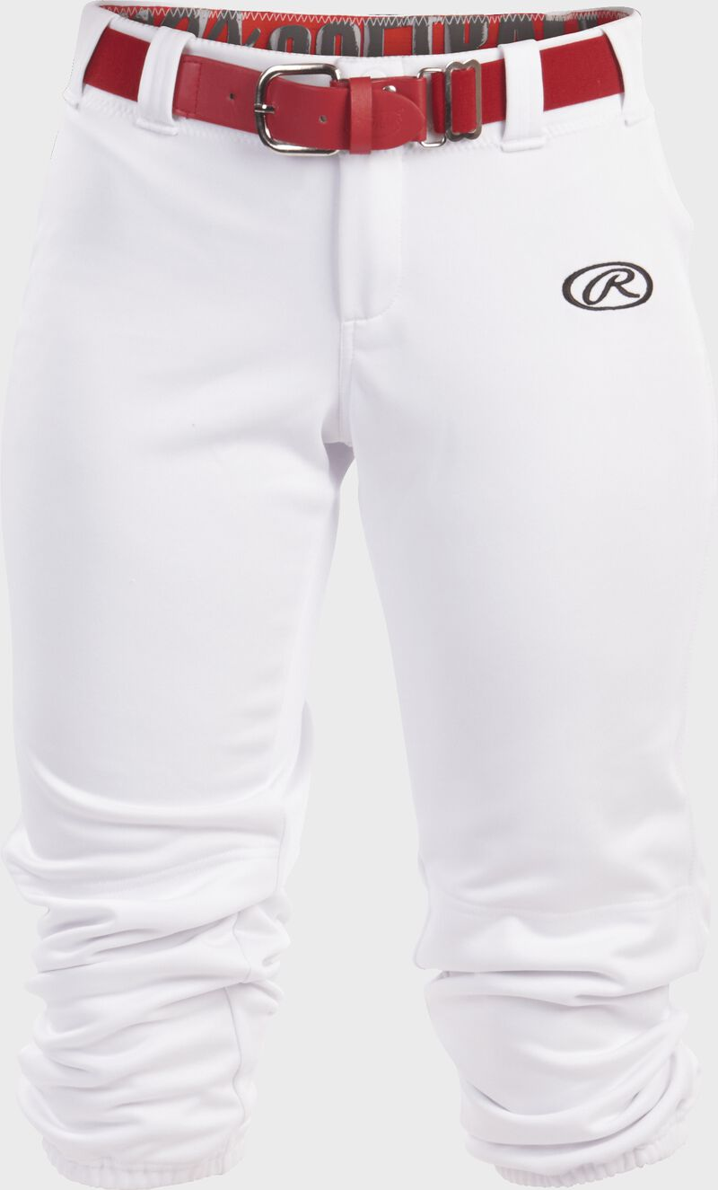 WLNCH white Women's launch softball pants with a scarlet belt
