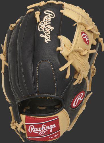 Back of a black P115CBI Prodigy youth I-web glove