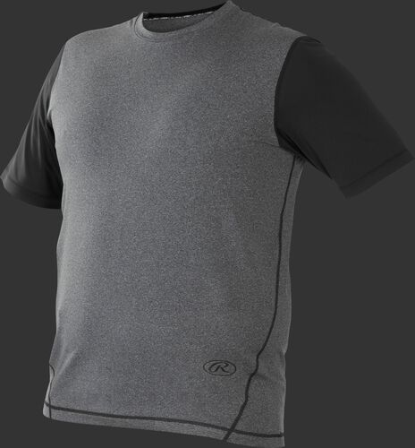 Front of Rawlings Gray/Black Adult Hurler Performance Short Sleeve Shirt - SKU #HSS