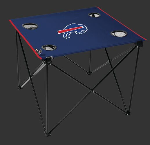 Rawlings Blue NFL Buffalo Bills Deluxe Tailgate Table With Four Cup Holders and Team Logo Printed In The Middle SKU #00701061111