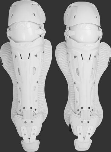 A pair of adult white Rawlings Mach catcher's leg guards with white accents - SKU: MCHLGA-W/W