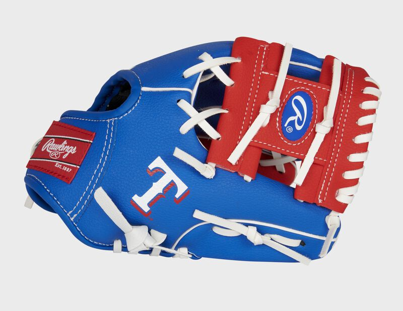 """Thumb of a blue/red Texas Rangers 10-inch team logo glove with a red I-web and """"T"""" logo on the thumb - SKU: 22000022111"""