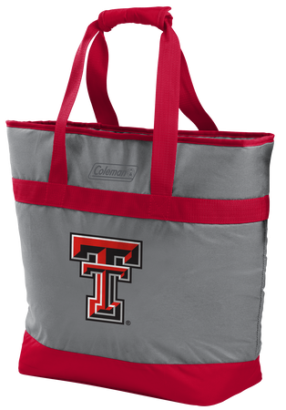 A grey NCAA Texas Tech Red Raiders 30 can tote cooler with red accents and a team logo printed on the front