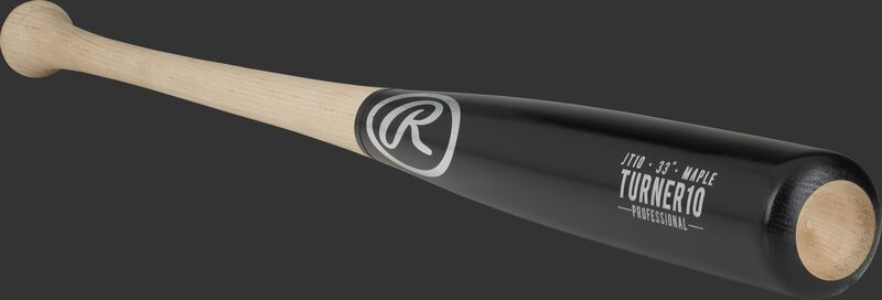 3/4 view of a JT10PL maple Justin Turner bat with a black barrel