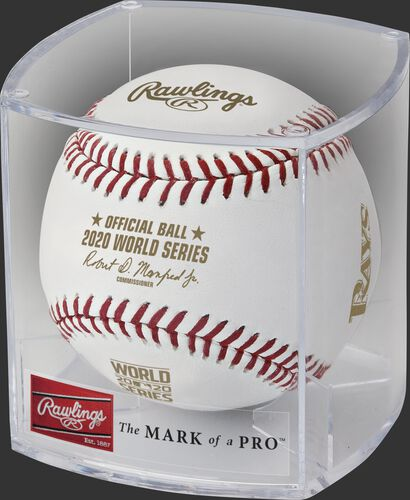 A 2020 MLB World Series dueling baseball in a clear display cube - SKU: EA-WSBB20DL-R