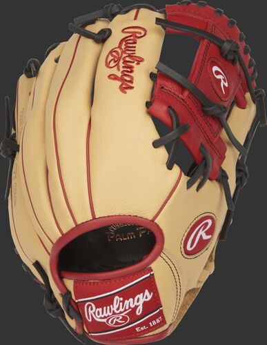 SPL112AR 11.25-inch Addison Russell youth infield glove with a camel back and scarlet accents
