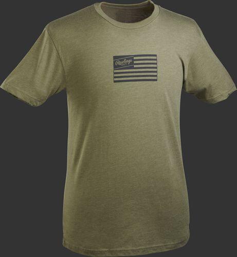 A dark green Rawlings American flag short sleeve shirt with a black print flag
