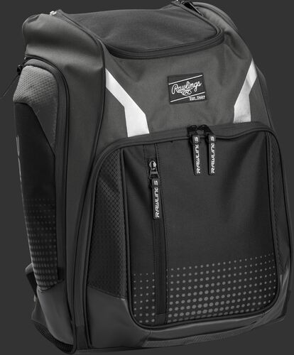 Right angle view of a gray Rawlings Legion backpack - SKU: LEGION-GR