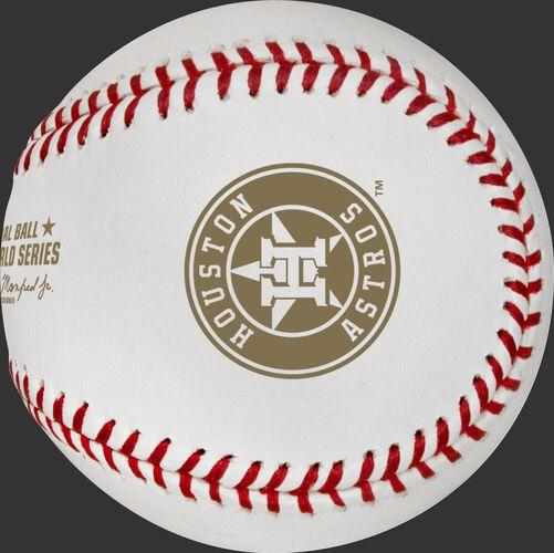Houston Astros logo stamped on the MLB dueling World Series baseball WSBB19DL