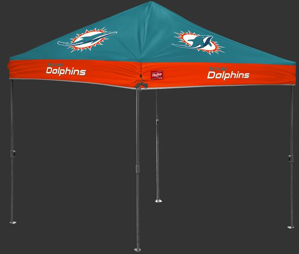 A teal/orange NFL Miami Dolphins 10x10 canopy with team logos on each side - SKU: 02231074111