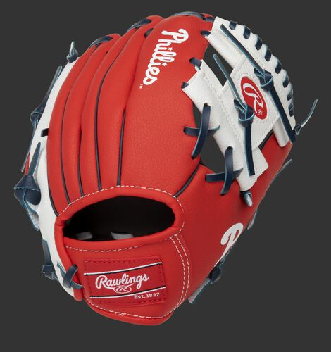 Back of a red/white Philadelphia Phillies 10-inch I-web glove with a red Rawlings patch - SKU: 22000020111