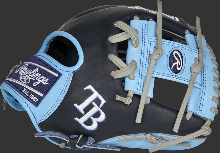 Thumb of a 2021 Tampa Bay Rays Heart of the Hide glove with the Rays logo on the thumb - SKU: RSGPRO204-2TB