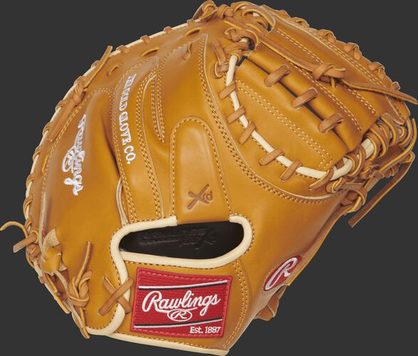 PROSCM43RT Pro Preferred 34-inch catcher's mitt with a rich tan kip leather back and camel binding