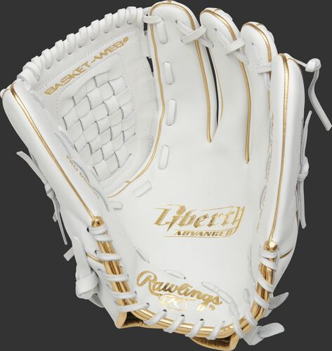 White palm of a Rawlings Liberty Advanced fastpitch glove with white laces - SKU: RLA125KRG