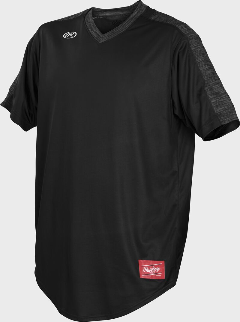 Front of Rawlings Black Adult Short Sleeve Launch Jersey  - SKU #LNCHJ-B