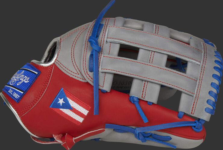 A scarlet/grey PRO3039-6PR HOH Puerto Rico outfield glove with a grey H-web and Puerto Rico flag on the thumb