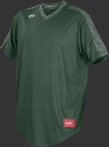 Front of Rawlings Dark Green Adult Short Sleeve Launch Jersey  - SKU #LNCHJ-DG-89