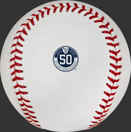 The Milwaukee Brewers 50th anniversary logo stamped on a MLB baseball - SKU: ROMLBMB50