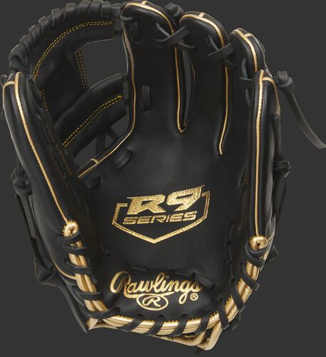 Black palm of a Rawlings R9 infield glove with a gold palm stamp and black laces - SKU: R9204-2BG