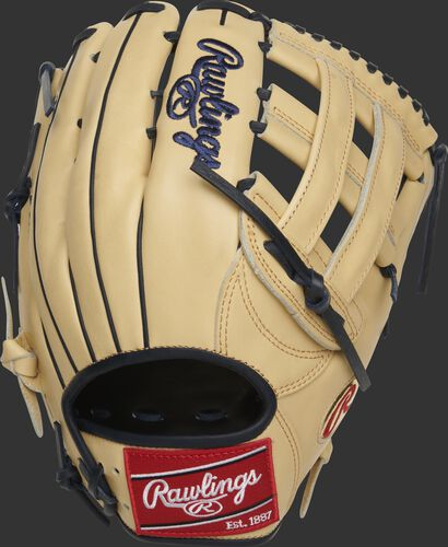 Back of a camel Christian Yelich HOH H-web outfield glove with a red Rawlings patch - SKU: RSGPRO3039-CY22