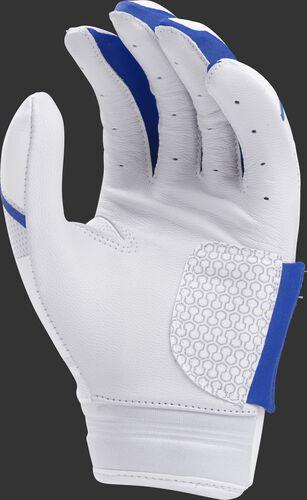 White palm of a white/royal FPWPBG Rawlings Workhorse women's batting glove