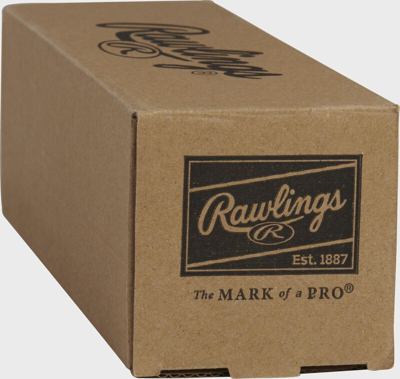 Rawlings patch on the end of a Playmaker baseballs box - SKU: PMBBPK3