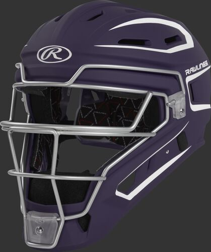 CHV27J purple Velo 2.0 youth catcher's helmet with white trim