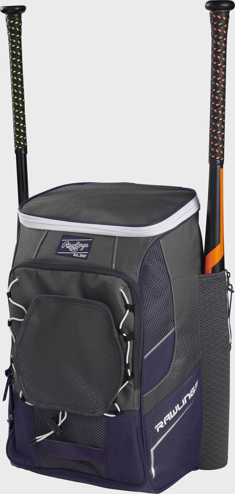 Front right angle view of a purple Impulse backpack with two bats in the side sleeves - SKU: IMPLSE-PU
