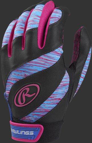 A black FPEBG Eclipse girl's softball batting glove with purple, pink and blue trim