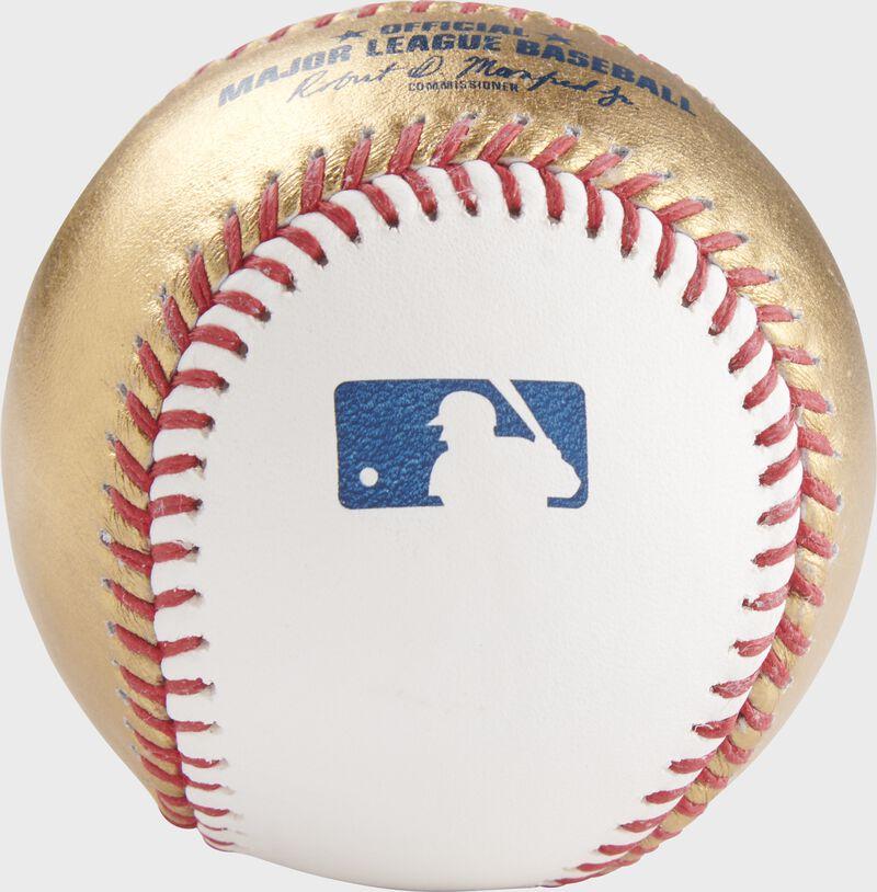 MLB stamp on a gold/white MLB baseball- SKU: RSGEA-ROMLBG/W-R