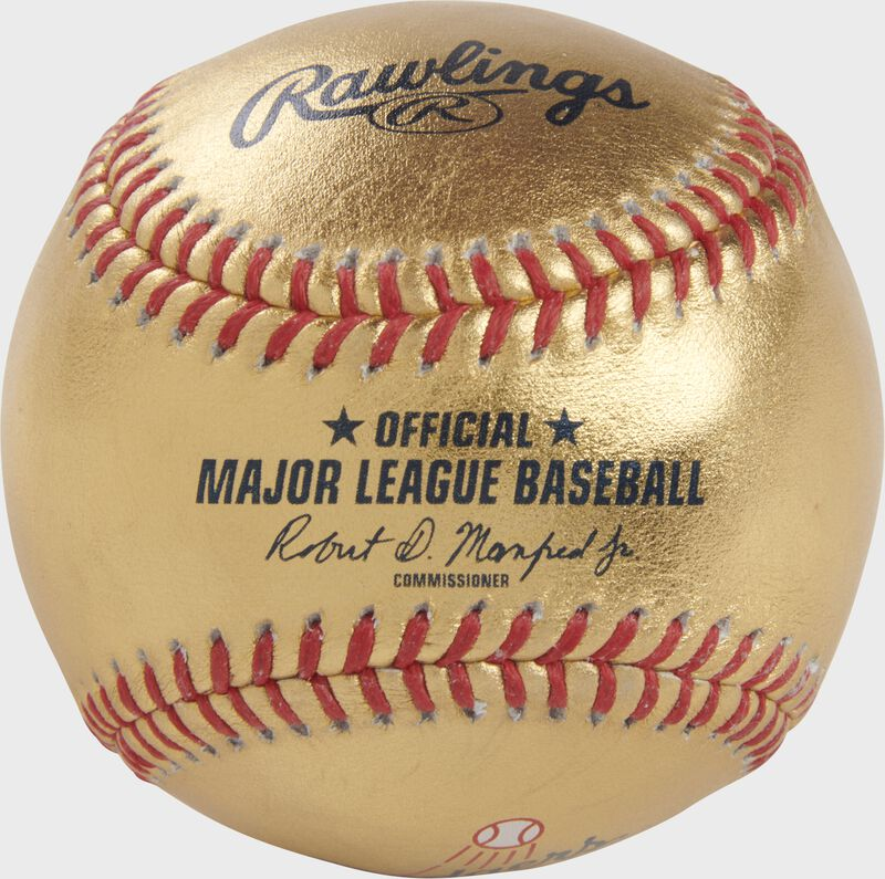 A Los Angeles Dodgers Rawlings Gold MLB team baseball with the official ball MLB stamp - SKU: RSGEA-GOLDLAD-R