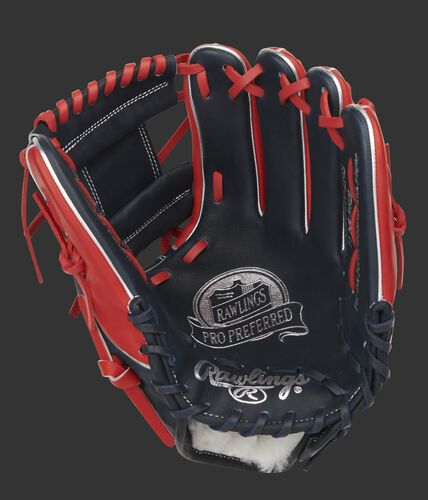 Navy palm of a Pro Preferred 11.5-Inch infield glove with a navy web and scarlet laces - SKU: PROS204W-2NS