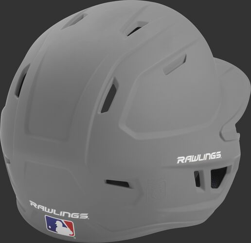 Back right of a one-tone matte silver MACH Rawlings batting helmet