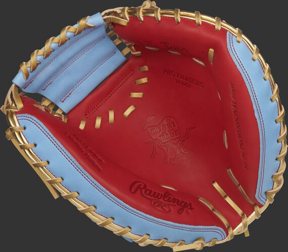 Scarlet palm of a Rawlings Heart of the Hide catcher's mitt with gold laces - SKU: RSGPROYM4SCBG