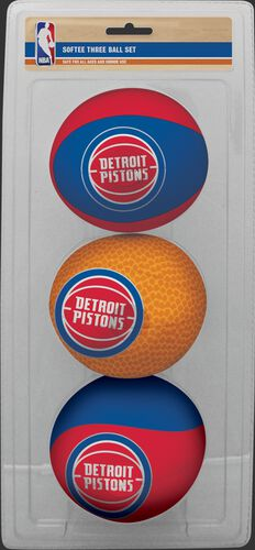Rawlings Blue, Brown, and Red NBA Detroit Pistons Three-Point Softee Basketball Set With Team Logo SKU #03524200114