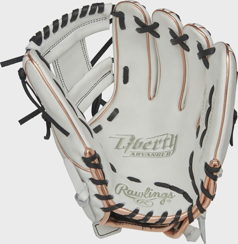 RLA715SB-2RG Rawlings Liberty Advanced Color Series glove with a white palm, white web and black laces