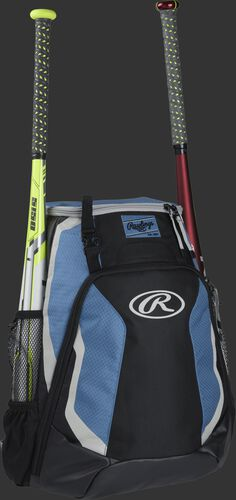 Right side of a black/columbia blue R500 Rawlings baseball backpack with a white bat in the bat sleeve