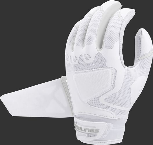 A white FPWPBG-W Rawlings women's Workhorse batting glove with the Impax pad removed