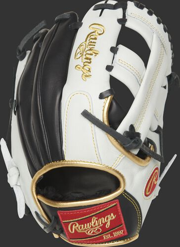 EC1125-20BW Encore 11.25-inch infield/pitcher's glove with a white/black back and gold binding/welting