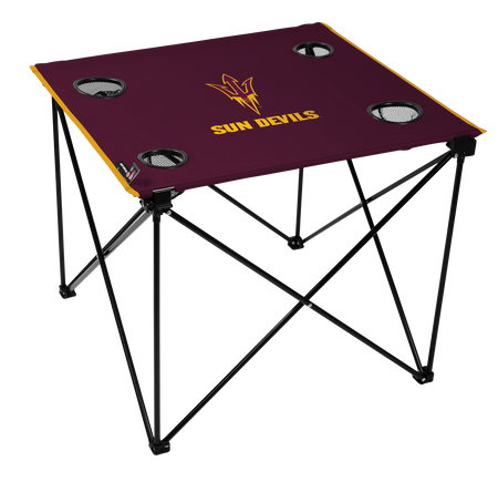 A maroon NCAA Arizona State Sun Devils deluxe tailgate table with four cup holders and team logo printed in the middle