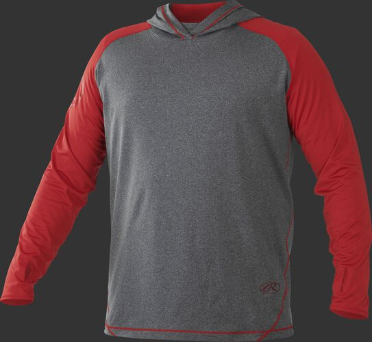 Front of Rawlings Scarlet/Gray Adult Hurler Lightweight Hoodie - SKU #HLWH-GR/B-88