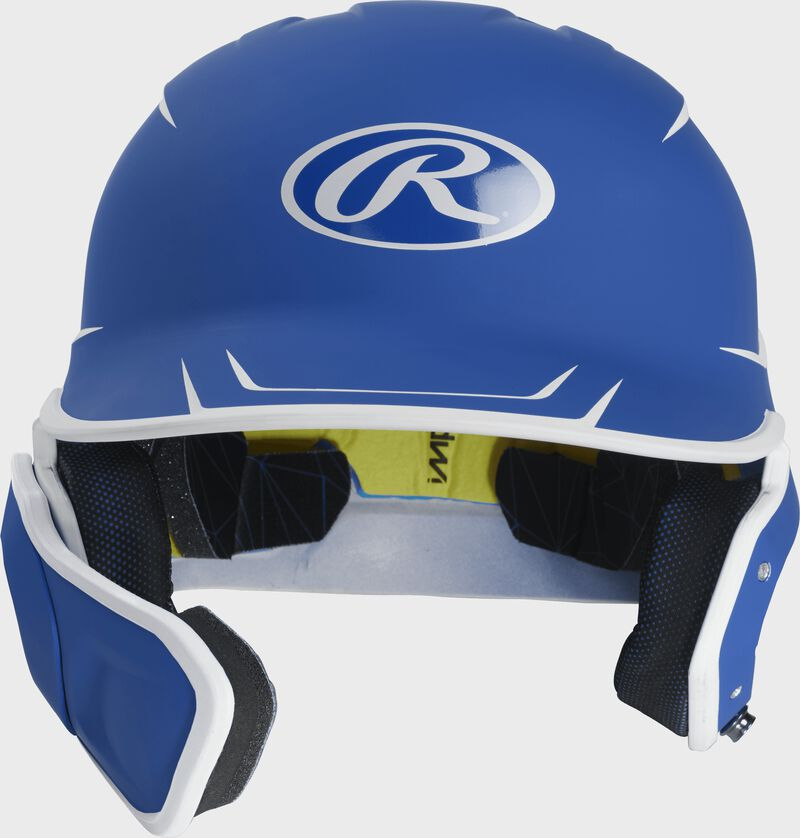Front of a matte royal/white MACHEXTR junior size Mach batting helmet with face guard extension for left hand batters