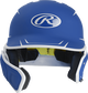 Front of a matte royal/white MACHEXTR junior size Mach batting helmet with face guard extension for left hand batters image number null