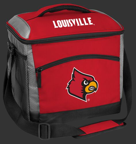 A red Louisville Cardinals 24 can soft sided cooler with screen printed team logos - SKU: 10223078111