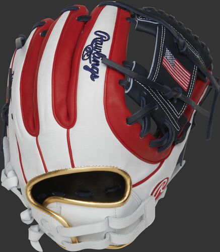 A PRO716SB-2USA 12-Inch Heart of the Hide USA softball glove with a white/scarlet back and scarlet double-welting