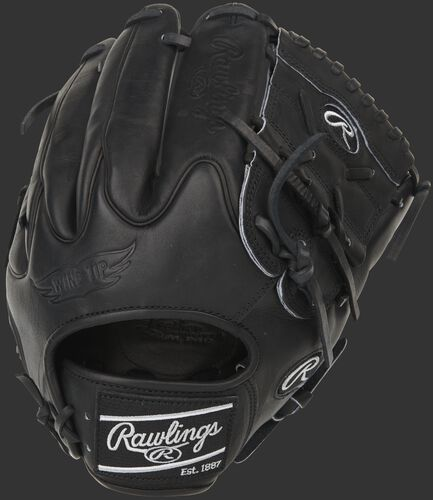 Black Wing Tip back of a Heart of the Hide infield/pitcher's glove with a black web - SKU: PRO205W-9B