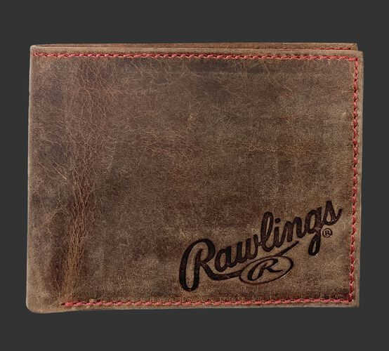 A brown High Grade debossed bi-fold wallet with the Rawlings logo debossed in the bottom right corner - SKU: RPW004-200