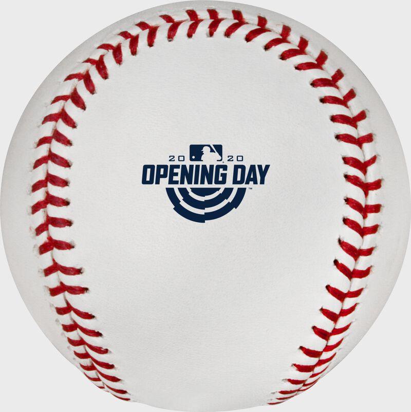The 2020 Opening Day logo stamped on a MLB baseball - SKU: ROMLBOD20